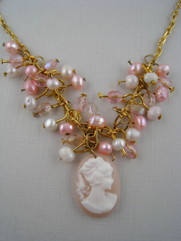 Vintage Style Goldtone Dangling Faux Pearl Pink Cameo Pendant Necklace