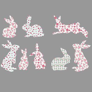 Set of 8 Rabbits Shabby Chic Floral Wall Sticker Decals Vinyl Bunnies Girls