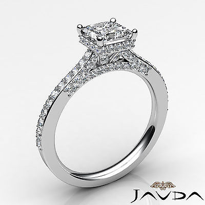 Circa Halo Bridge Accent Princess Diamond Engagement Pave Ring GIA F VS1 1.15Ct 1