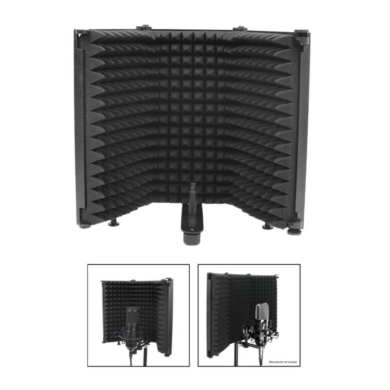 Professional Microphone Isolation Shield 3-Panel Wind Screen High Density Black
