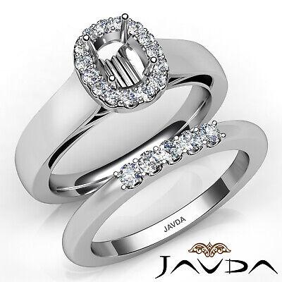 U Prong Diamond Engagement Semi Mount Ring Cushion Wedding Bridal Set 0.43Ct ()