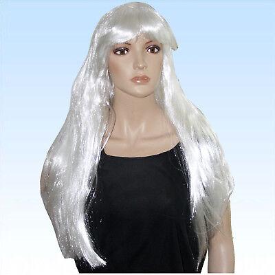 Perücke Engel lang weiß glänzend weiße Engelsperücke für Engelskostüm o. Alltag
