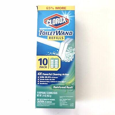 Clorox Toilet Wand Disinfecting 10 Refills Disposable Wand Heads Rainforest Rush
