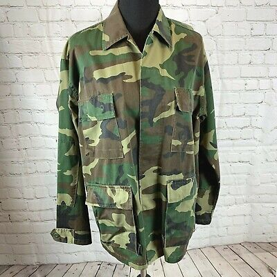 Woodland Army Jacket Rothco Ultra Force BDU Shirt Green Button Front size M Reg for sale  Shipping to India