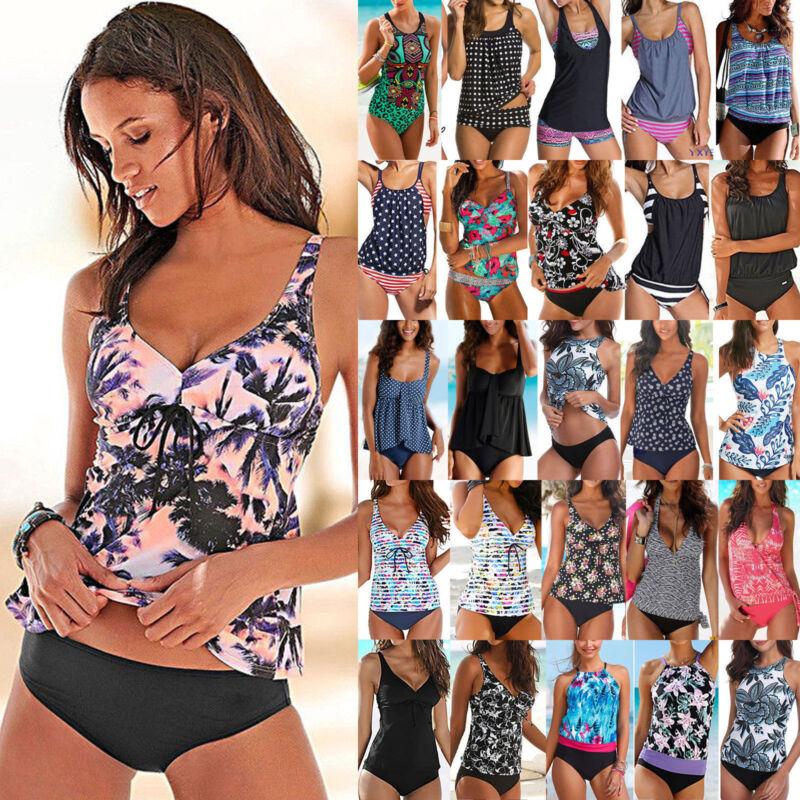 Damen Tankini Bikini Gepolstert Schwimmanzug Badeanzug Bademode Brasilianische