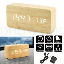 Modern Wooden Alarm Clock Wood USB/AAA Digital LED Calendar Thermometer Bedroom