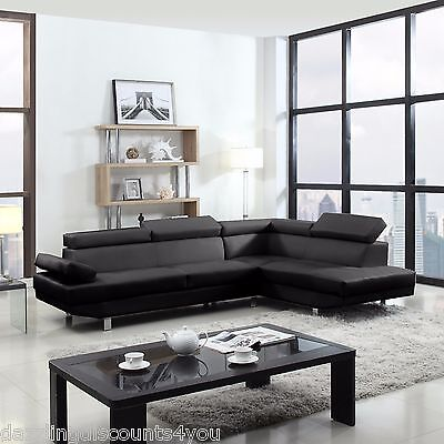 2 Piece Contemporary Modern Faux Leather Black Sectional Sofa
