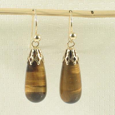 14k Yellow Gold Fish Hook Gold Ball & Cups Brown Tiger-Eye Dangle Earrings TPJ ()
