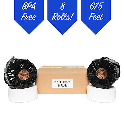 Atm 2 14 X 675 Thermal Receipt Paper - 8 New Rolls Free Shipping Tranax