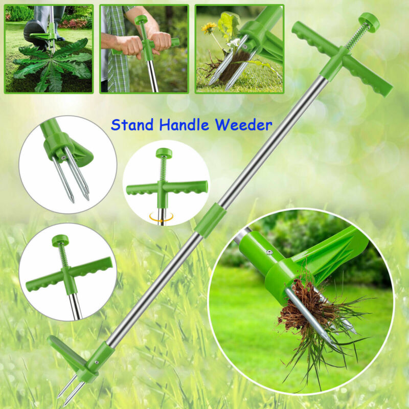 Stand Long Handle Weed Puller Weeder Garden Lawn Twister Plant Root Remover Tool