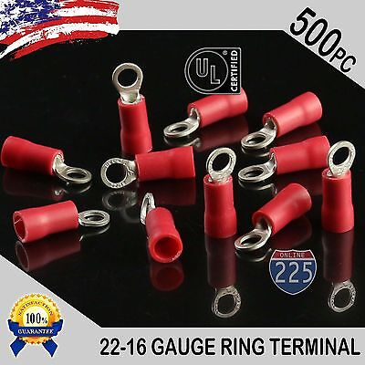 500 PACK 22-16 Gauge #6 Stud Insulated Vinyl Ring Terminals 100% Tin Copper Core