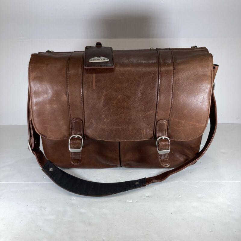 Vintage Leather Samsonite Messenger Dowel Rod Computer Bag Laptop Satchel School