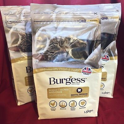 3 x Burgess Dry Adult Cat Food Chicken Dental Care Digestion Urinary Skin Coat