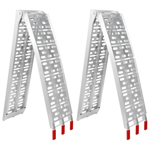 2pcs Heavy Duty Aluminum Folding  7.5′ Loading Ramp Motorcycle Arched Truck ATV ATV, Side-by-Side & UTV Parts & Accessories