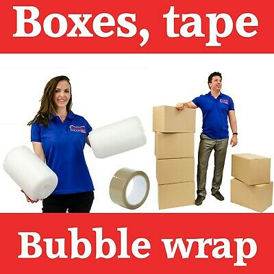 5 Large Cardboard Packing Moving Boxes, 1 Strong Tape & 10 Meter Bubble Wrap