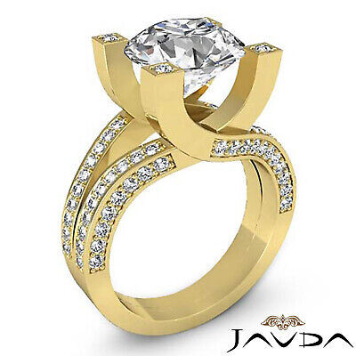 Trellis Style Split Shank Round Cut Diamond Engagement Pave Ring GIA I VS2 2.5Ct 7