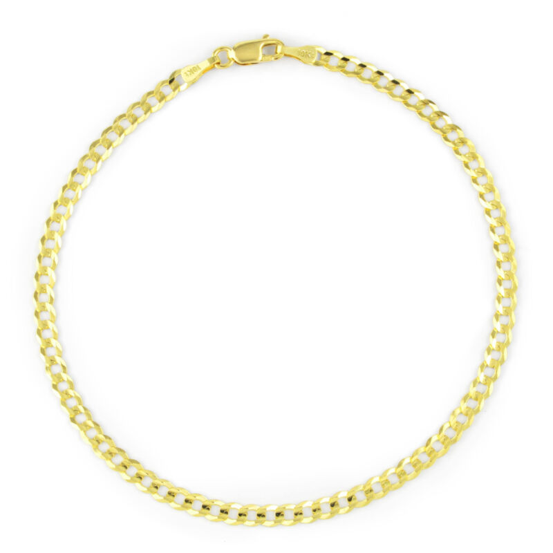 """10K Yellow Gold 2.5MM Womens Cuban Curb Polish Link Chain Bracelet Anklet 8"""""""