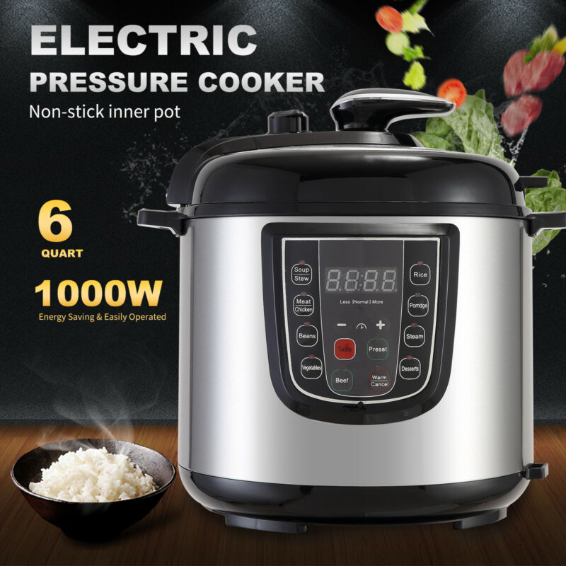 1000W 6QT Electric Digital Multifunction Pressure Cooker Stainless Steel