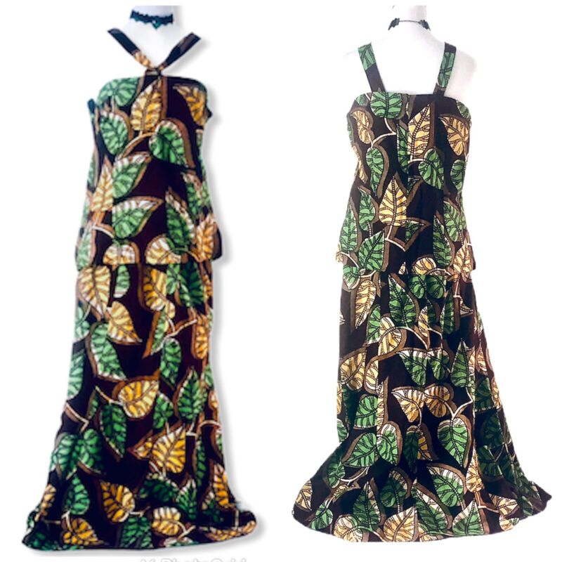 Ethnic African Dress Brown With Green Yellow Leaf Pattern NWOT L To XL