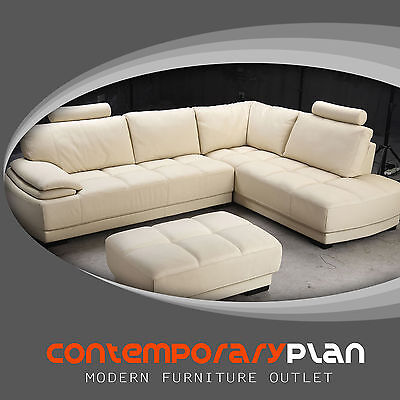 Modern Beige Leather Sectional Sofa and Ottoman Set Contemporary Design NEW