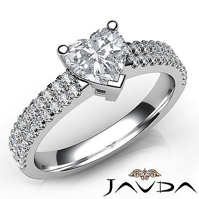 Natural 100% U Cut Pave Heart Diamond Engagement Ring GIA E Color VVS2 1.21Ct