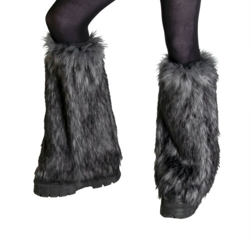 PAWSTAR Wild Wolf Fur Leg Warmers - faux fluffy fluffies furry rave [GYW]2510