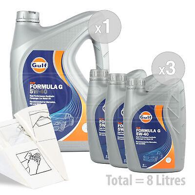 Car Engine Oil Service Kit / Pack 8 LITRES Gulf Formula G 5W-40 5W40 8L