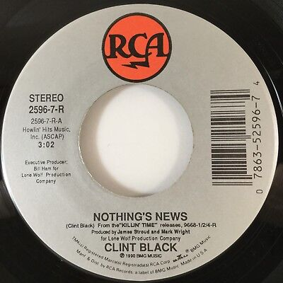 Clint Black Nothings News   Live And Learn  7  45Rpm Rca 2596  Near Mint  L  K