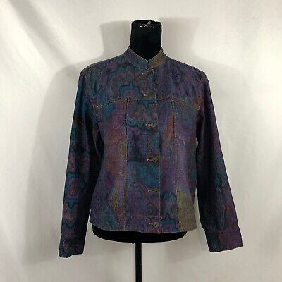 Chico's Womens Size 1 Multi-Color Floral Button-Up Cotton Denim Jean Jacket