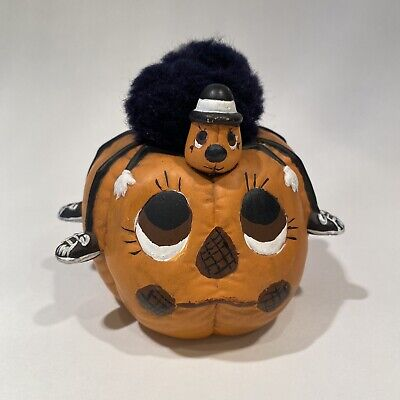Vintage Dona's Ceramic Painted Pumpkin With Spider on its Head Halloween 1986