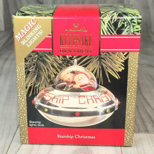 "Hallmark Limited Edition Ornament Starship Christmas New 1990 Vtg 2.5""Hx3.25""Dia"