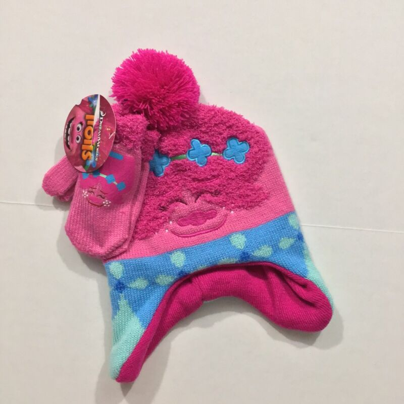 Trolls Poppy NWT Toddler One Size 2T 3T 4T 5T Hat Mittens Gloves Set Pink Blue