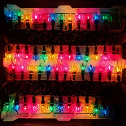 Vintage 50 String Christmas Lights Tulip Flower Petal Set Reflectors Multi Color