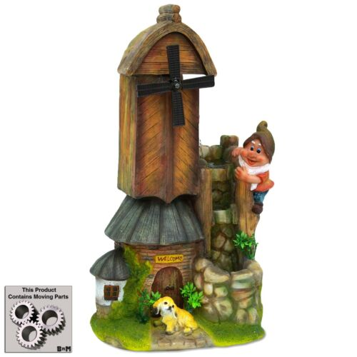 Gnome Windmill Water Fountain With Dog Golden Retriever