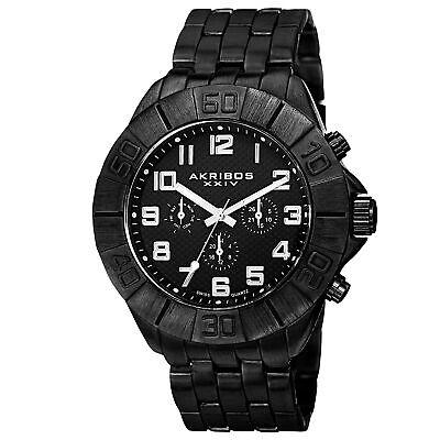 New Men's Akribos XXIV AK767BK Swiss Quartz Multifunction Black Bracelet Watch