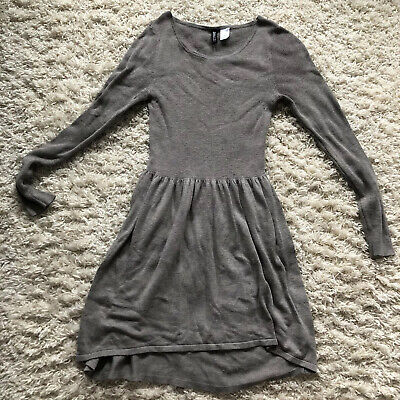 H&M Divided Women's High Low Knit Long Sleeve Dress Brown Gray Blend Size 10 - 9