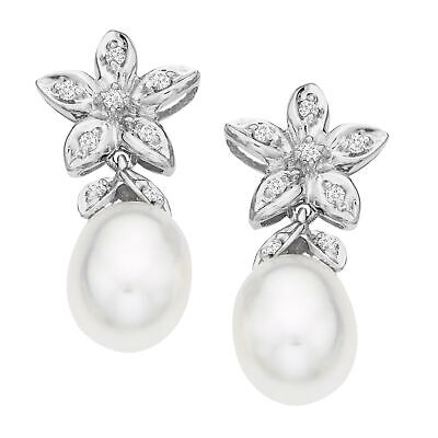 Freshwater Pearl and 1/10 ct Diamond Drop Earrings in 14K White Gold (Diamond And Pearl Earrings)