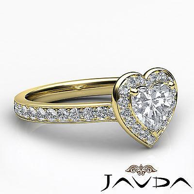 Halo Pave Set Heart Diamond Engagement Wedding Ring GIA H VS2 Yellow Gold 0.95Ct 2