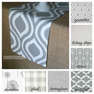 Gray Table Runner Modern Rustic Home Decor Table Centerpiece Dining Table Linens