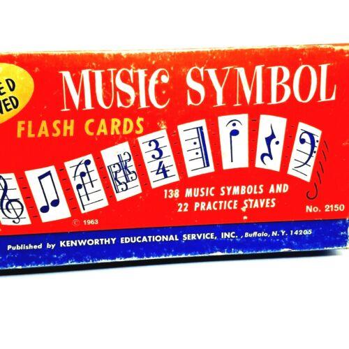 MUSIC SYMBOL FLASH CARDS Vintage 1963 Kenworthy Educational  Large Original Box