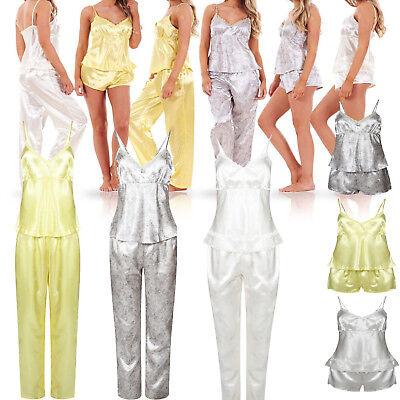 Ladies Women 3 Piece Satin Pyjama Set Vest Lace Shorts PJ'S Nightwear Nighty 3 Piece Satin Vest