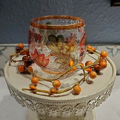 Yankee Candle (?) Fall Autumn Leaves Crackled Glass Votive Holder