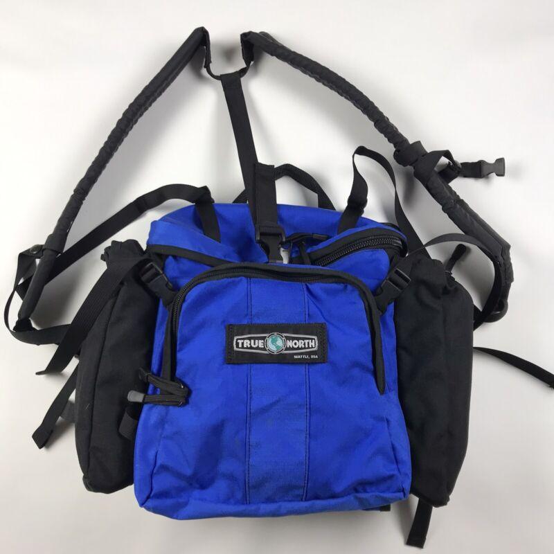Vintage True North Seattle Medic Backpack Bag Pack - Blue & Black, Made in USA