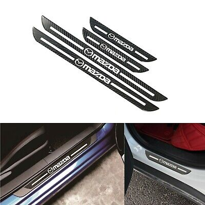 Mazda Carbon Fiber Car Door Scuff Sill Cover Panel Step Protector Set Of 4PCS
