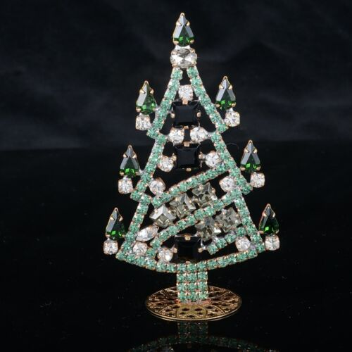 "Czech christmas tree - stand-up - rhinestone - 3.66"" x 2.16"""