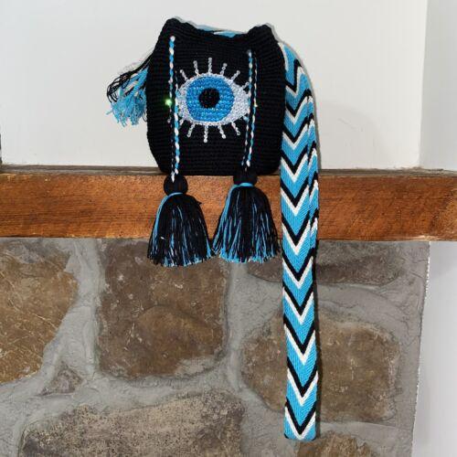 Authentic 100 Wayuu Mochila Colombian Bag Mini Size Handpainted front evil eye