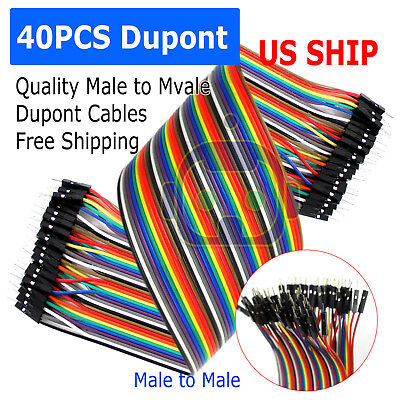 40pcs 30cm Male To Male Dupont Wire Jumper Cable For Arduino Breadboard