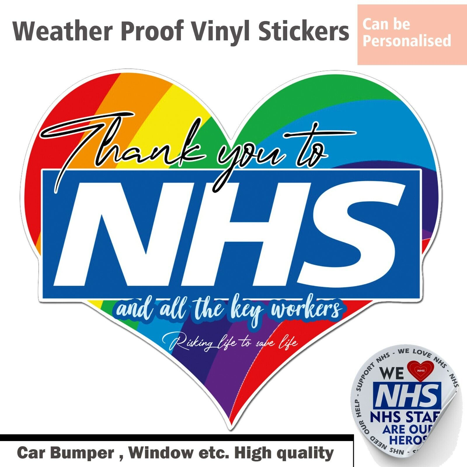 Home Decoration - Rainbow Window Large vinyl Sticker(up 90cm Thank You NHS&Key CarBumper Bin Heart