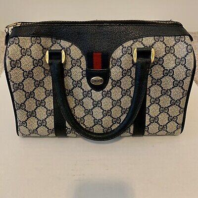 Vintage Gucci Navy Blue Canvas Leather Hand Bag Authentic