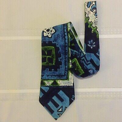 1960s – 70s Men's Ties | Skinny Ties, Slim Ties KANAKA TIE - Men's Neck Tie - VTG 1960's - Made in Hawaii - Blue Tapa Print $20.00 AT vintagedancer.com